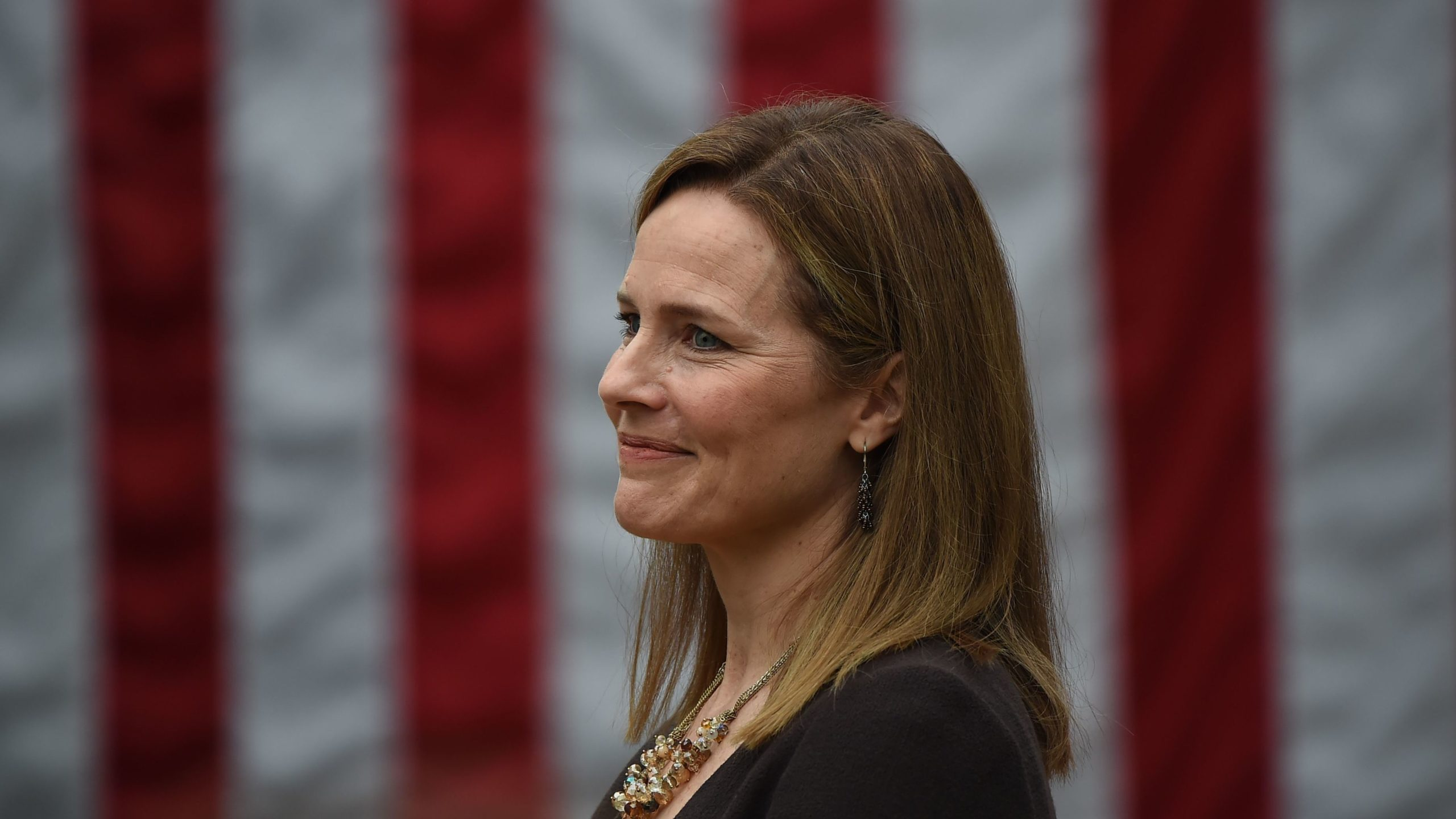Judge Amy Coney Barrett is nominated to the US Supreme Court by President Donald Trump in the Rose Garden of the White House in Washington, DC on September 26, 2020. - Barrett, if confirmed by the US Senate, will replace Justice Ruth Bader Ginsburg, who died on September 18. (Photo by Olivier DOULIERY / AFP) (Photo by OLIVIER DOULIERY/AFP via Getty Images)