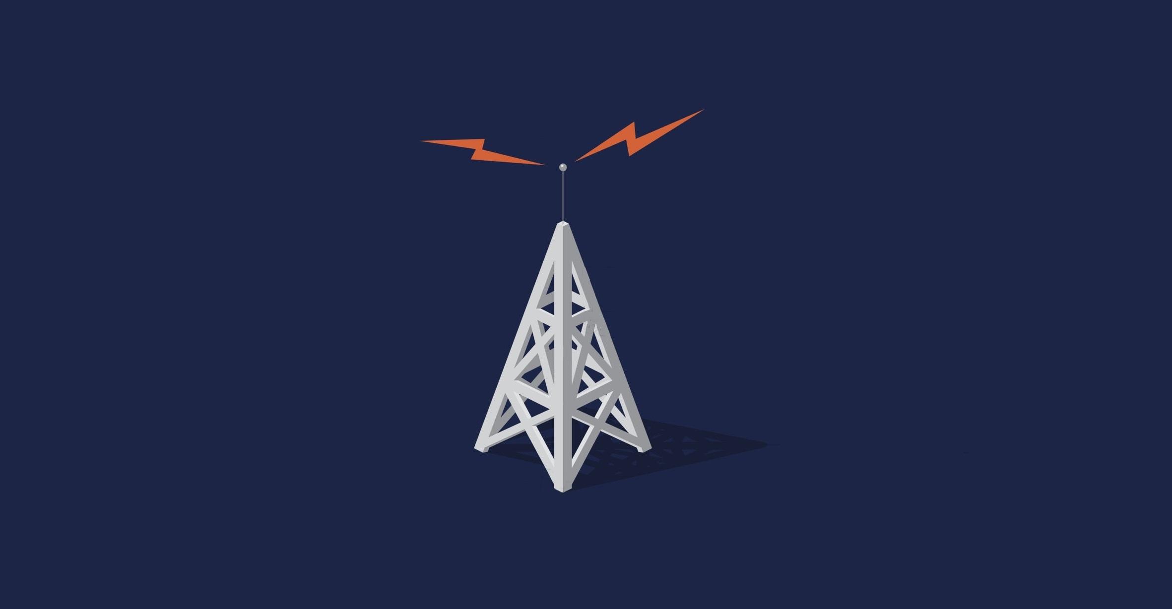 Radio towers with orange frequencies